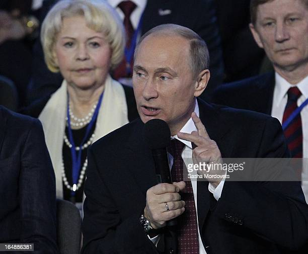 Russian President Vladimir Putin speaks during a conference of the All-Russia People's Front at VertolExpo on March 29, 2013 in Rostov-on-Don,...