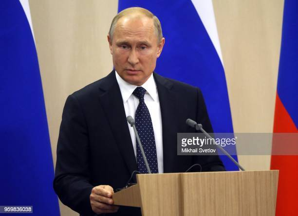 Russian President Vladimir Putin speaks during a joint press conference at the Bocharov Ruchey State Residence on May18 2018 in Sochi Russia German...