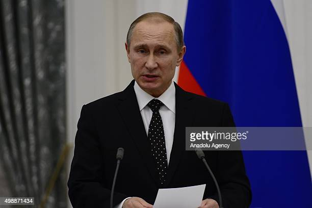Russian President Vladimir Putin speaks during a joint press conference with French President Francois Hollande following their meeting at Kremlin...