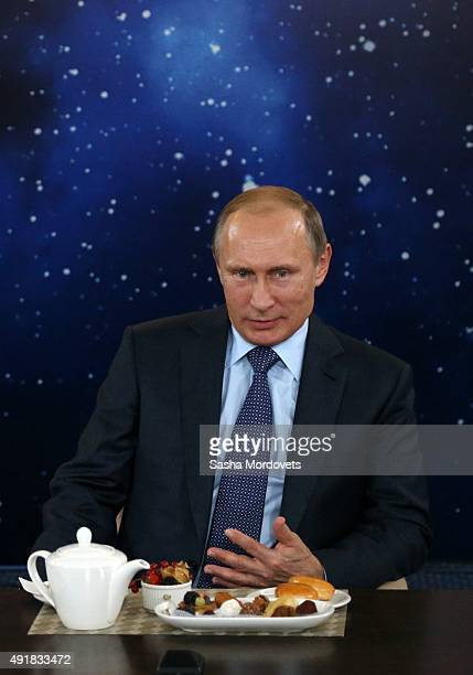 Russian President Vladimir Putin speaks during a meeting for Russia's Teacher of the Year Competition at the Sirius education center for children on...