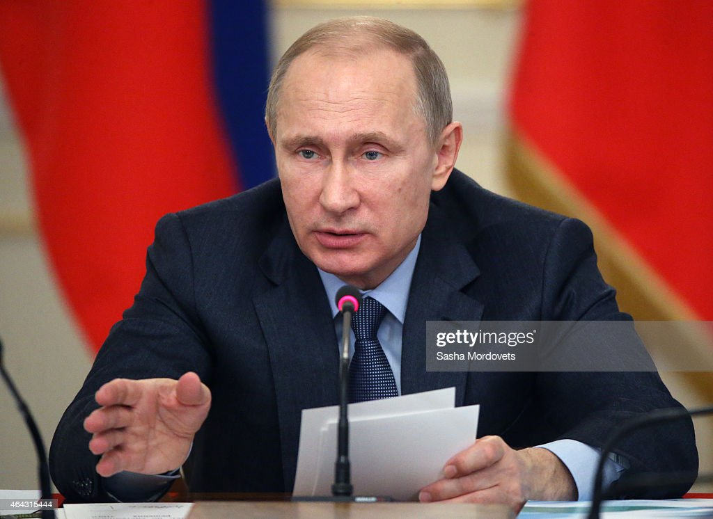 Russian President Vladimir Putin speaks during a meeting of State Council Presidium at the Novo Ogaryovo State Residence on February,24 2015 outside of Moscow, Russia. Putin recently said on Russian TV that a war with Ukraine would be apocalyptic scenario, but probably never happen.