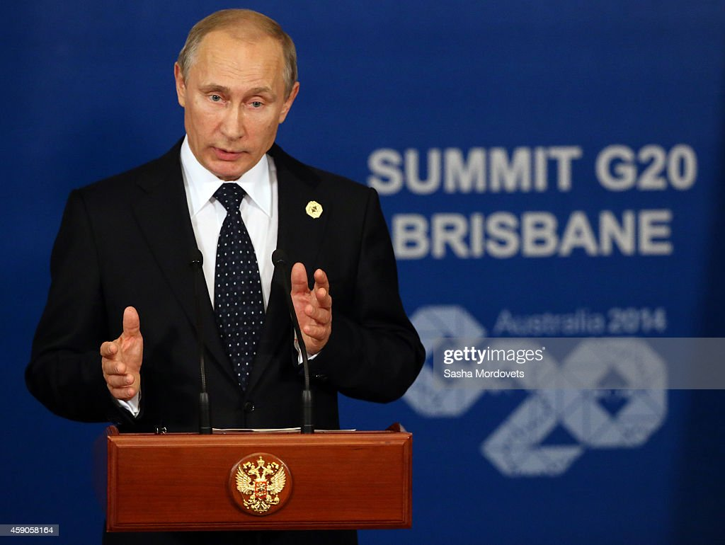 Russian President Vladimir Putin speaks during a press conference at the G20 Summit on November 16, 2014 in Brisbane, Australia. World leaders have gathered in Brisbane for the annual G20 Summit and are expected to discuss economic growth, free trade and climate change as well as pressing issues including the situation in Ukraine and the Ebola crisis.