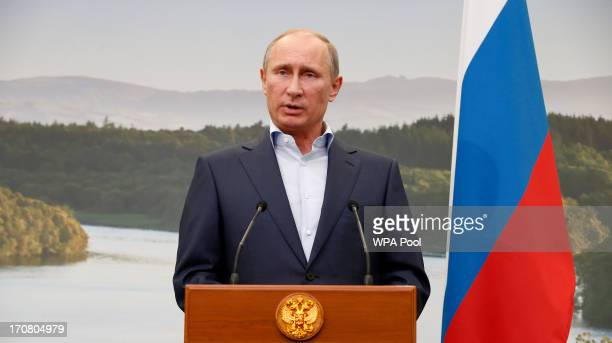 Russian President Vladimir Putin speaks during a press conference on the second day of the G8 summit venue of Lough Erne on June 18, 2013 in...