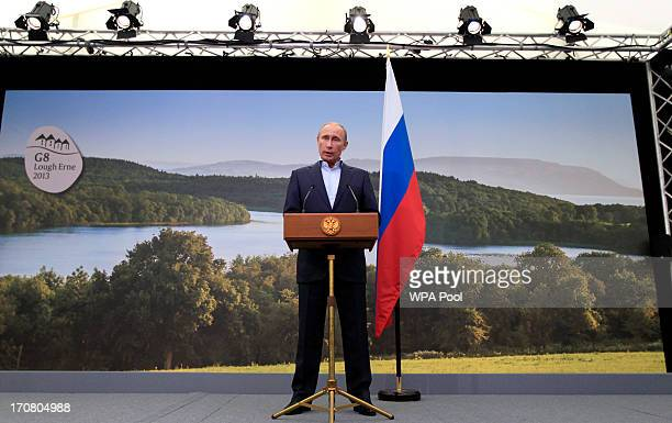 Russian President Vladimir Putin speaks during a press conference on the second day of the G8 summit venue of Lough Erne on June 18 2013 in...