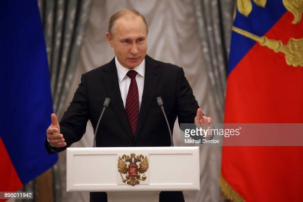 Russian President Vladimir Putin speaks during an awarding cemeremony at the Kremlin in Moscow Russia December 18 2017 Vladimir Putin gave the...