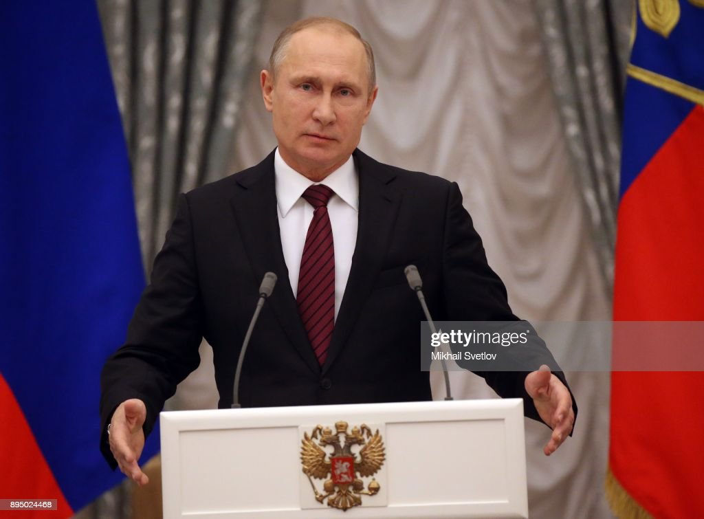 Russian President Vladimir Putin attends an awadring ceremony in Moscow : News Photo