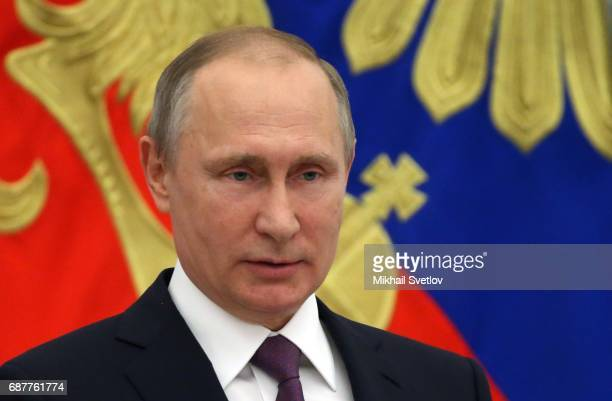 Russian President Vladimir Putin speaks during an awards ceremony at the Kremlin in Moscow Russia May2017 President Vladimir Putin has awarded...