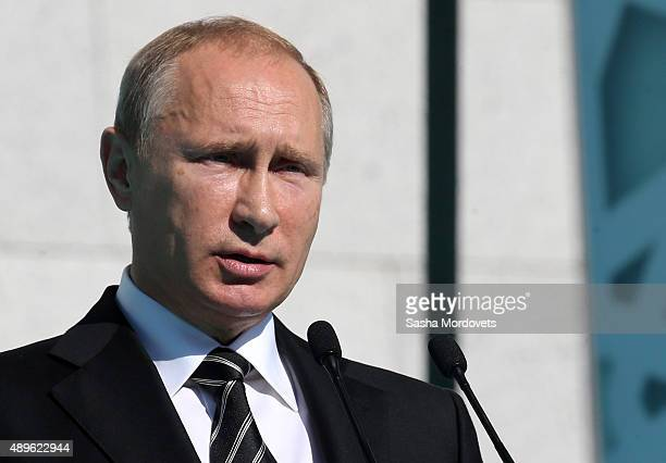 Russian President Vladimir Putin speaks during an opening ceremony for the newly restored Moscow Cathedral Mosque on September 23 2015 in Moscow...