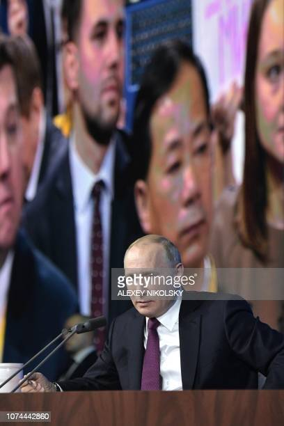Russian President Vladimir Putin speaks during his annual press conference in Moscow on December 20 2018