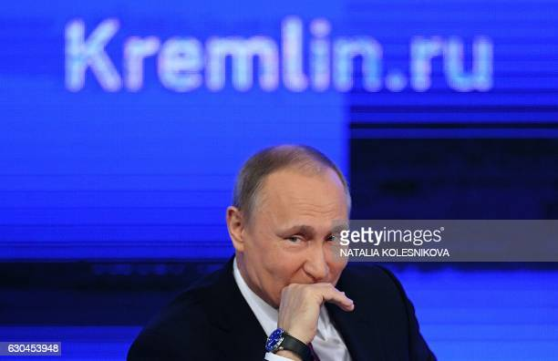 Russian President Vladimir Putin speaks during his annual press conference in Moscow on December 23 2016 / AFP PHOTO / Natalia KOLESNIKOVA