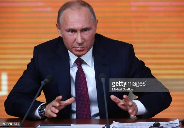 Russian President Vladimir Putin speaks during his annual press conference on December 14 2017 in Moscow Russia