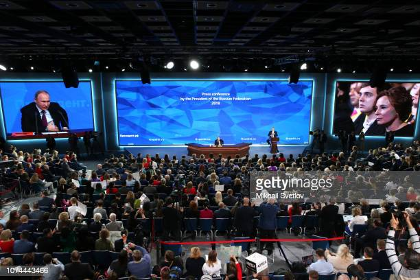 Russian President Vladimir Putin speaks during his big annual press conference in Moscow Russia December2018 More than 1700 Russian and foreign media...