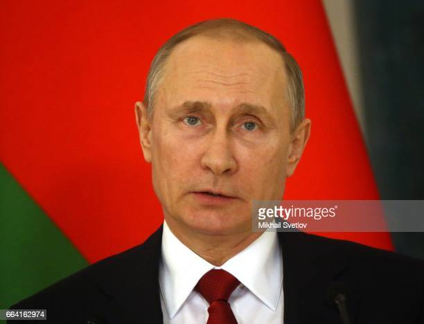 Russian President Vladimir Putin speaks during his joint press conference with Belarussian President Alexander Lukashenko at Konstantin Palace on...