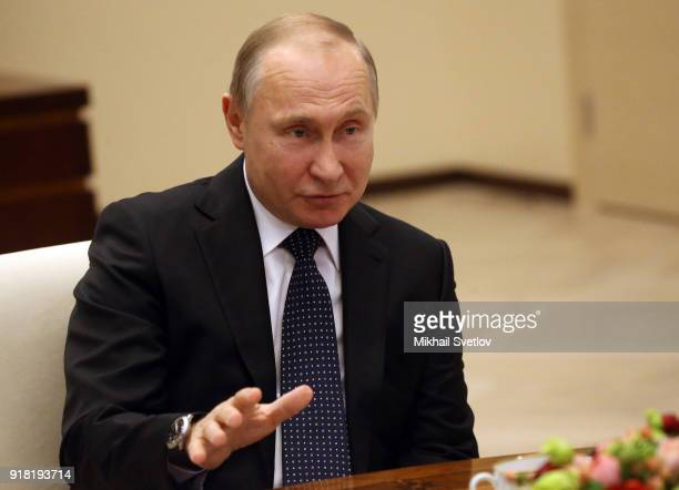 Russian President Vladimir Putin speaks during his meeting with participants of the Mentor Forum at NovoOgaryovo State residence on February 14 2018...