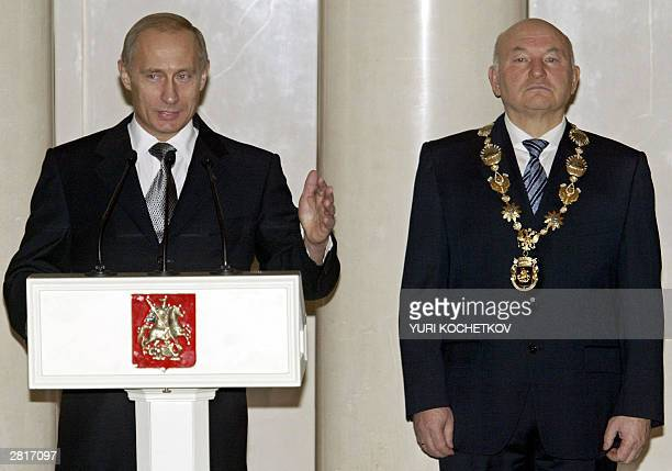 Russian President Vladimir Putin speaks during Moscow's Mayor Yury Luzhkov inauguration ceremony in Moscow 17 December 2003 Yury Luzhkov was...