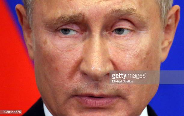 Russian President Vladimir Putin speaks during RussianHungarian meeting at the Kremlin in Moscow Russia September2018 President of Hungary Orban is...