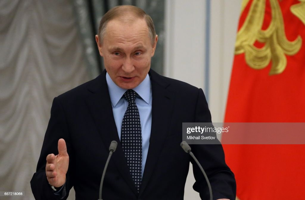 Russian President Vladimir Putin Attends His Awards Ceremony At The Kremlin : News Photo