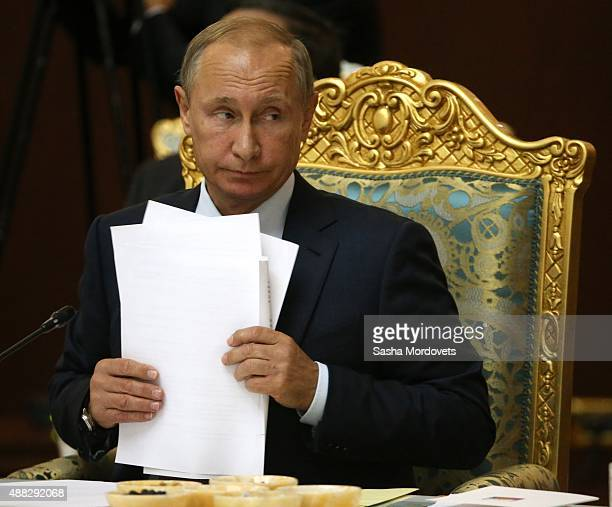 Russian President Vladimir Putin speaks during the Collective Security Treaty Organisation in Dushanbe Tajikistan September2015 Putin said at a...