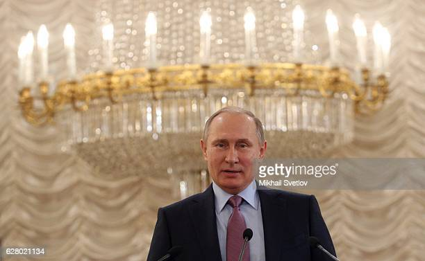 Russian President Vladimir Putin speaks during the meeting with Secretary General of the Council of Europe Thorbjorn Jagland at the Kremlin on...