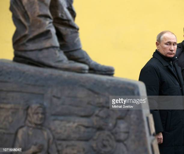 Russian President Vladimir Putin speaks during the opening ceremony of new monument to Soviet dissident and writer Alexander Solzhenitsyn in Moscow...