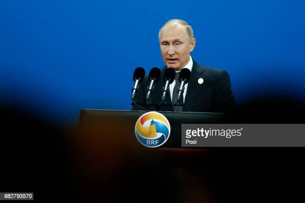 Russian President Vladimir Putin speaks during the opening ceremony of the Belt and Road Forum on May 14 2017 in Beijing China The Belt and Road...