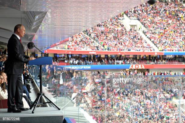 Russian President Vladimir Putin speaks during the opening ceremony prior to the 2018 FIFA World Cup Russia Group A match between Russia and Saudi...