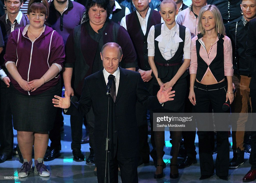 Russian President Vladimir Putin speaks during the opening of the International Youth Comic Club on the television show KVN at the new building 'Planet KVN' on April 1, 2013 in Moscow, Russia. KVN is a popular comedic talent show for student teams, and has been aired on national TV since 1961.