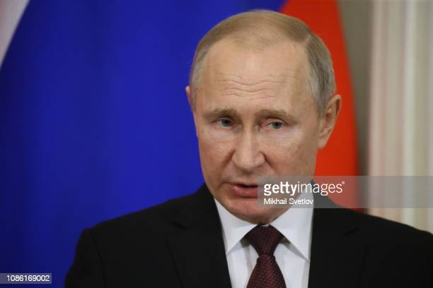 Russian President Vladimir Putin speaks during the press conference with Japanese Prime Minister Shinzo Abe at the Kremlin on January 22 2019 in...