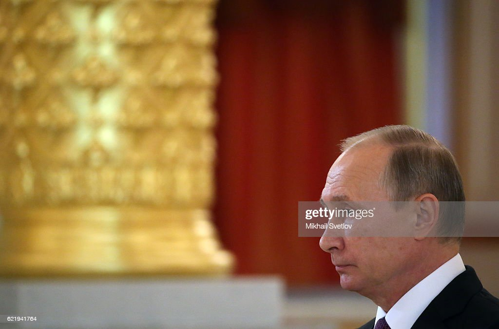 Russian President Vladimir Putin speaks during the reception for new foreign ambassadors at Grand Kremlin Palace on November 9, 2016 in Moscow, Russia. Putin has received credentials from 19 new foreign ambassadors and also extended congratulates to Donald Trump the winner of U.S. Presidential election today.