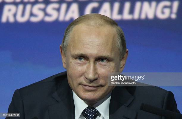 Russian President Vladimir Putin speaks during the Russia Calling VTB Capital Investment Fourm on October 13 2015 in Moscow Russia The Forum provides...