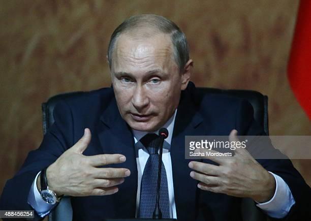 Russian President Vladimir Putin speaks during the RussianKazakh Interregional Cooperation Forum on September 16 2015 in Sochi Russia Mr Putin said...