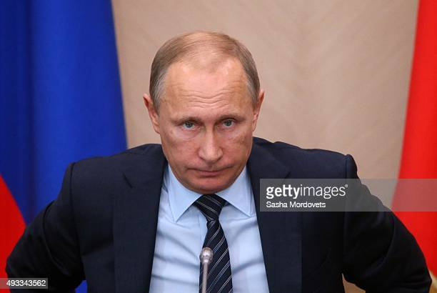 Russian President Vladimir Putin speaks during the State Concil Presidium meeting on fish industry development in Novo Ogaryovo State Residence on...