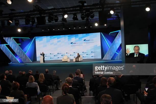 Russian President Vladimir Putin speaks during the Valdai Discussion Club's plenary meeting, on October 2021, in Sochi, Russia. Vladimir Putin took...