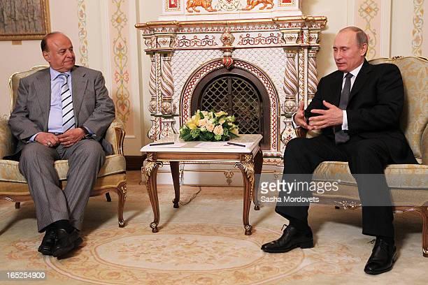 Russian President Vladimir Putin speaks to Yemen's President Abd Rabbuh Mansur Hadi during a meeting on April 2 2013 in Moscow Russia Yemen's...