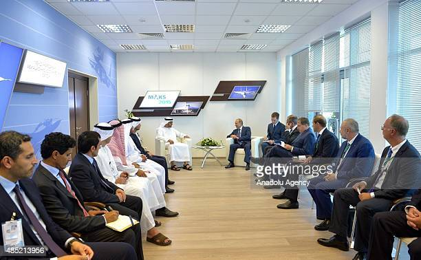 Russian President Vladimir Putin speaks with Sheikh Mohammed bin Zayed Al Nahyan Crown Prince of Abu Dhabi and Supreme Commander of the UAE armed...