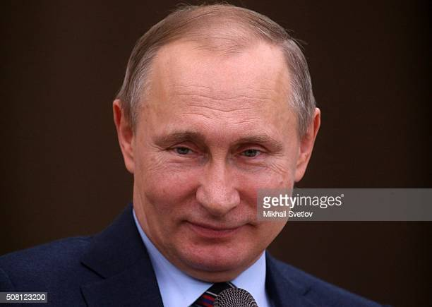 Russian President Vladimir Putin speeches during a meeting with the Leaders Club for Business Initiatives Promotion a group of representatives of...