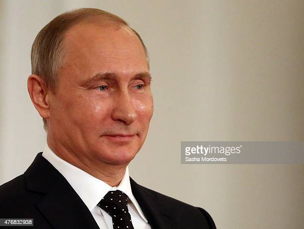 Russian President, Vladimir Putin speeches during a presentation ceremony of state awards marking the Day of Russia in the Grand Kremlin Palace in...