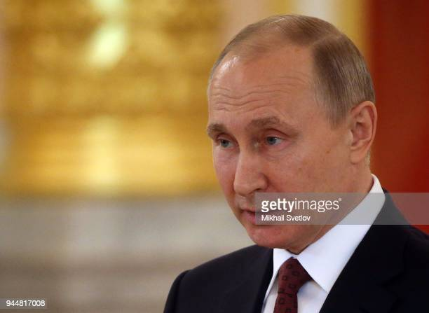 Russian President Vladimir Putin speeches during a reception for new foreign ambassadors at the Grand Kremlin Palace in Moscow Russia April 2018...