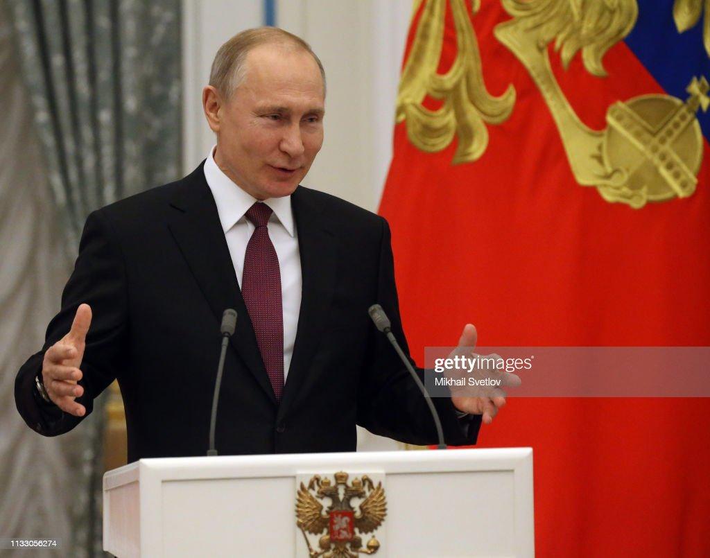 Russian President Vladimir Putin awards culture Professionals at the Kremlin : News Photo