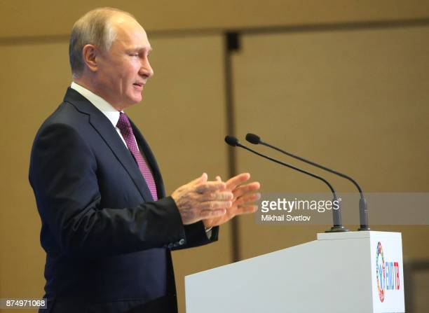 Russian President Vladimir Putin speeches during fhe first WHO global ministerial conference ending TB in the sustainable development era a...