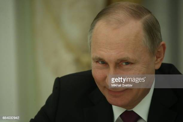 Russian President Vladimir Putin speeches during his meeting with Bavarian Prime Minister and SCU Leader Horst Seehofer during their talks at the...