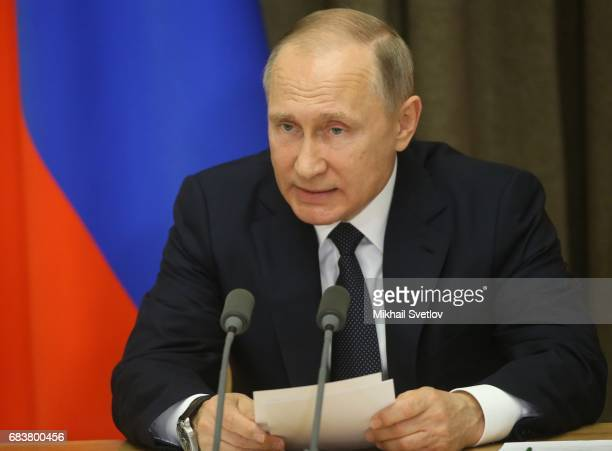 Russian President Vladimir Putin speeches during his meeting with senior defence officials in Sochi Russia May2017 Russia's state defence order was...