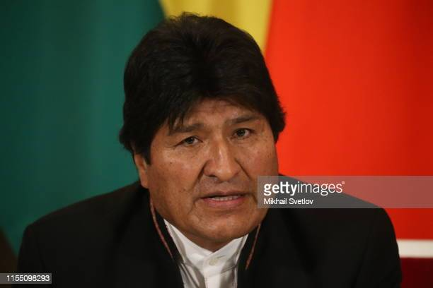 Russian President Vladimir Putin speeches during his talks with Bolivian President Evo Morales at the Kremlin in Moscow Russia July2019 President of...