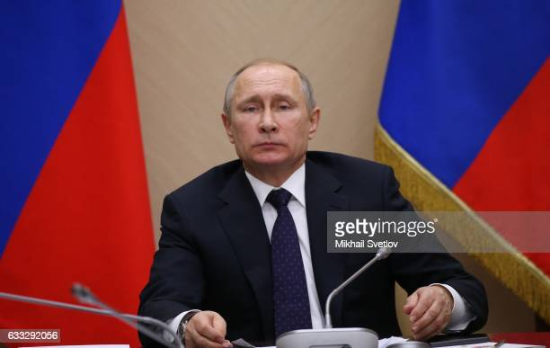 Russian President Vladimir Putin speeches during his weekly meeting with ministers of the Government on February2017 at NovoOgaryovo State Residence...