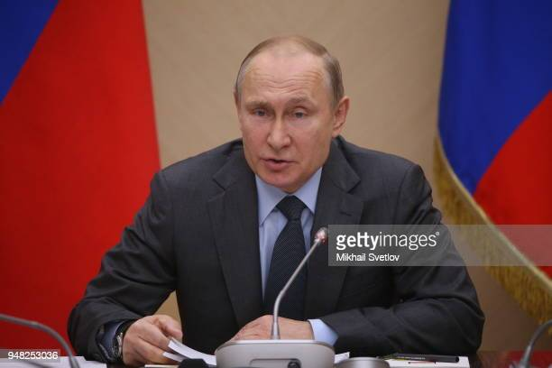 Russian President Vladimir Putin speeches during his weekly meeting with ministers of Russian Governmnet at NovoOgaryovo State residence on April...