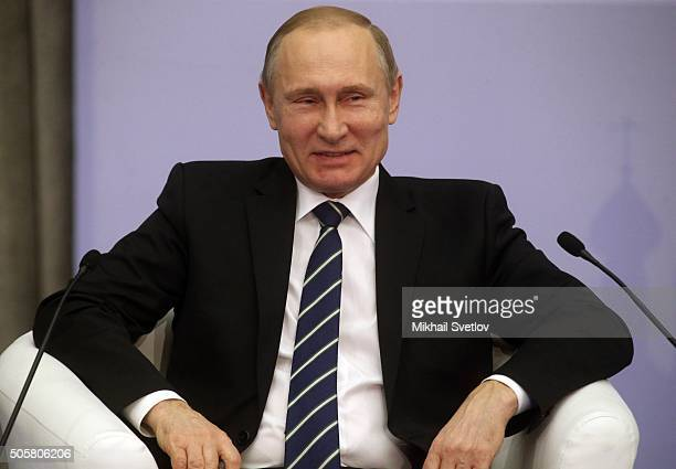 Russian President Vladimir Putin speeches during the AllRussian Business Forum 'Small business a national idea' on January 20 2016 in Moscow Russia...