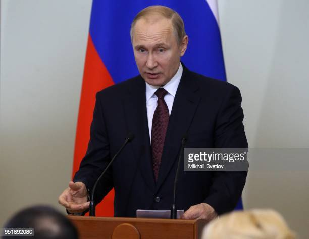 Russian President Vladimir Putin speeches during the Council of the Lawnmakers on April 27 2018 in Saint Petersburg Russia Russian Presidentelect...