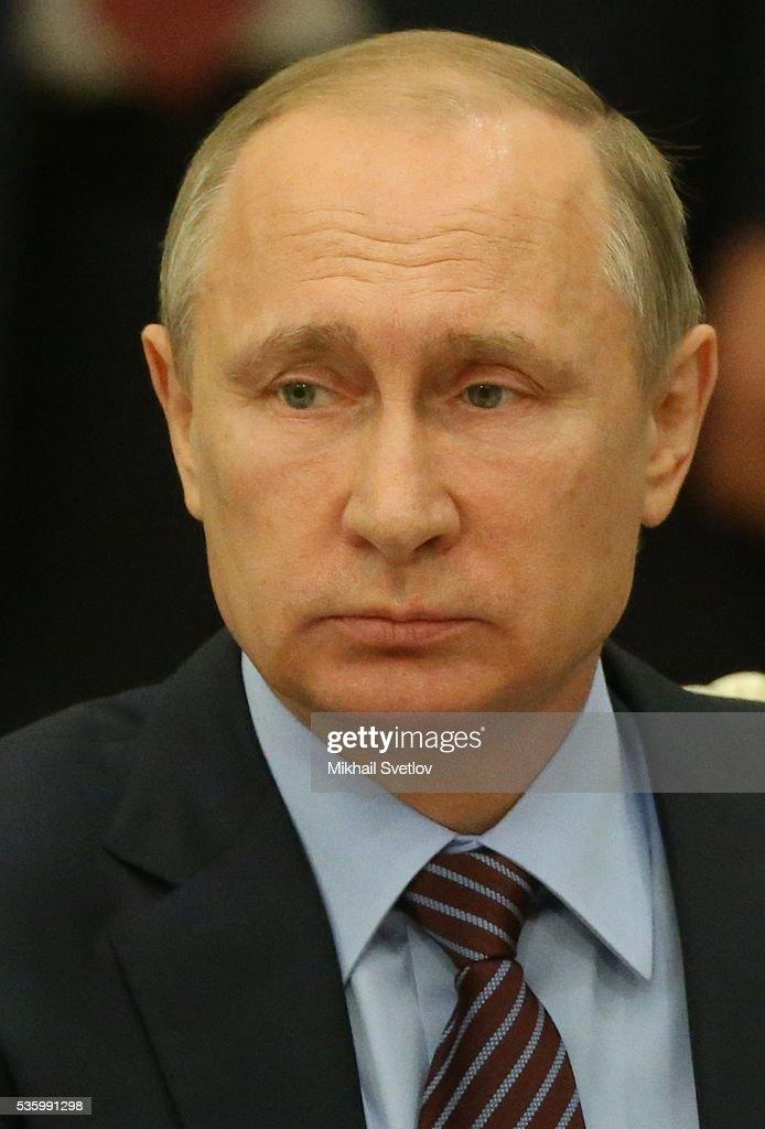 ASTANA, KAZAKHSTAN - MAY, 31 (RUSSIA OUT) Russian President Vladimir Putin speeches during the Eurasian Economic Union Summit at Akorda Palace on May 31, 2016 in Astana, Kazakhstan. Heads of the Eurasian Economic Union (EAEU) member states Russia, Belarus, Armenia, Kazakhstan and Kyrgyzstan have gathered in Astana for the summit. President Putin will also hold talks with Kazakh President Nursultan Nazarbayev.