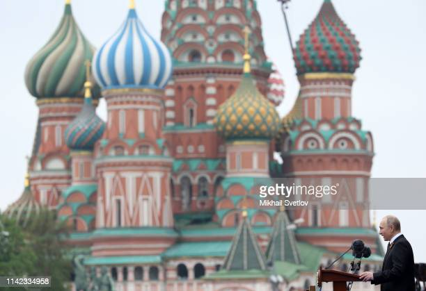 Russian President Vladimir Putin speeches during the Red Square Victory Day Parade on May 9 2019 in Moscow Russia Putin sent his greeting to people...