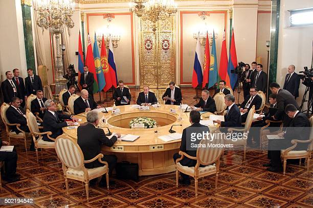Russian President Vladimir Putin speeches during the Summit of Eurasian Economic Union in Grand Kremlin Palace December 21 2015 in Moscow Russia...